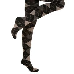 Strickstrumpfhose Schwarz Grau Rautenmuster